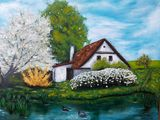 Original painting house with lake