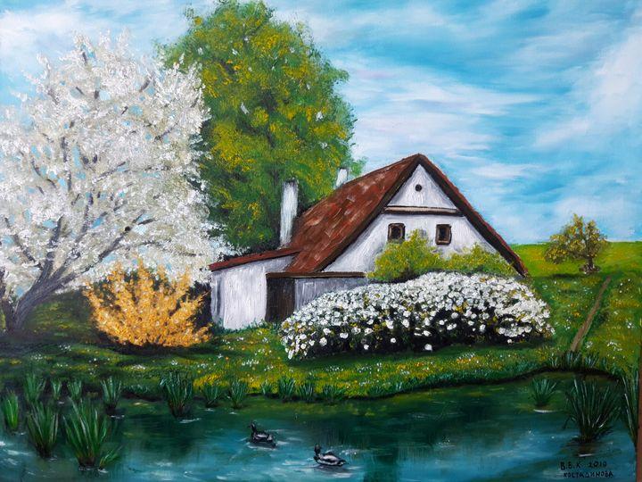 Painting house with lake - Valentine Kostadinova