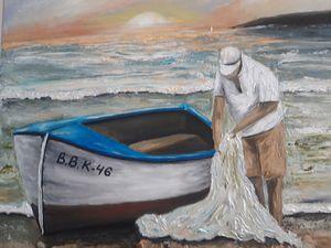 Oil painting  fishermen