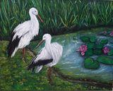 Original painting storks