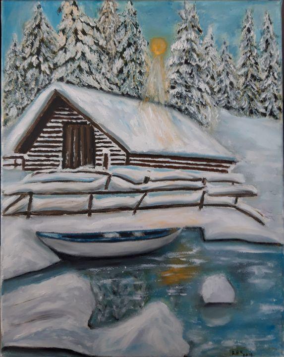 Painting winter landscape with house - Valentine Kostadinova