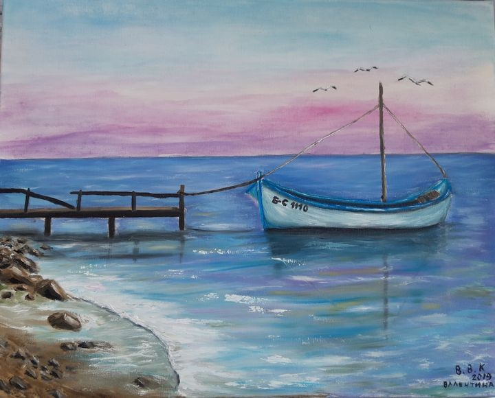 Seascape and boat - Valentine Kostadinova