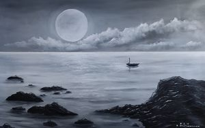 oil painting full moon over the sea