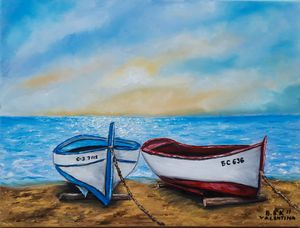 oil painting with boats