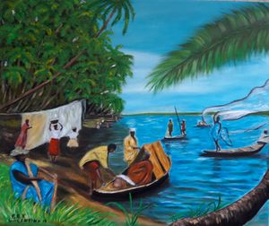 Painting seascape Africa