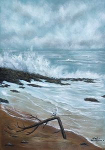 oil painting sea storm approaching