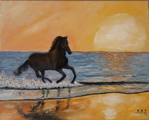 Seascape sunset and horse