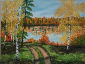 Oil painting Autumn landscape