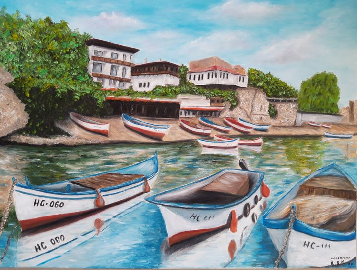 seascape with boats - Valentine Kostadinova