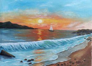 oil painting Towards sunrise