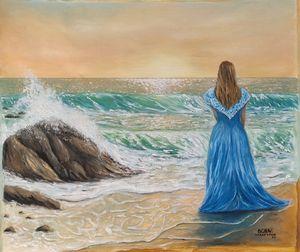 oil painting Sea foam