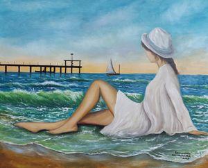 oil painting Girl on the beach