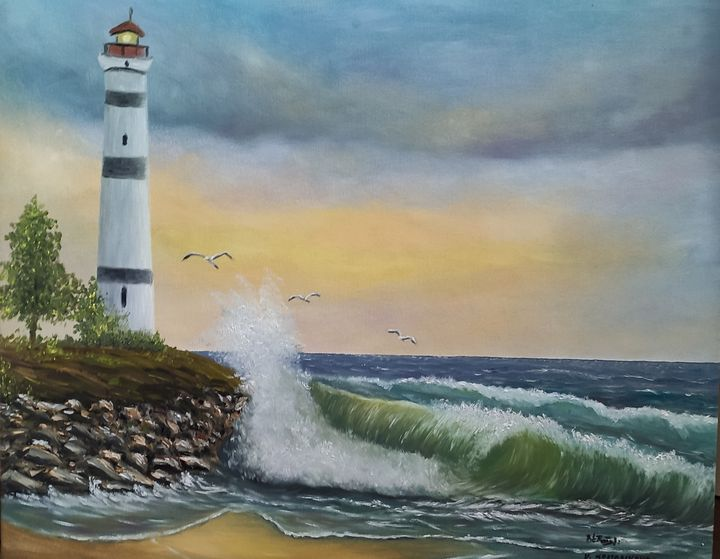 Oil painting The old lighthouse - Valentine Kostadinova