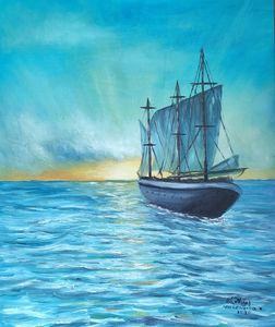 Oil painting Sea blue