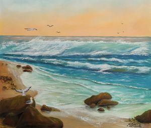 Sea and seagulls . Awakening