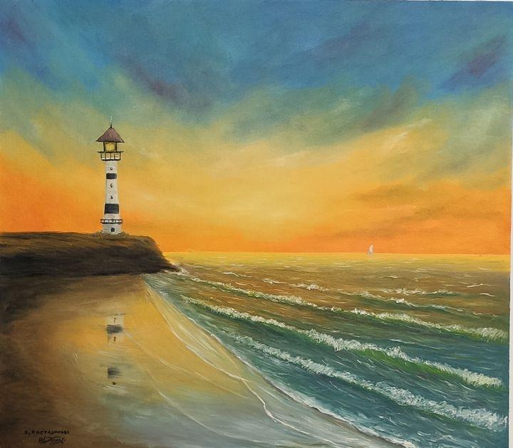 Oil painting The Golden Sunset and t - Valentine Kostadinova
