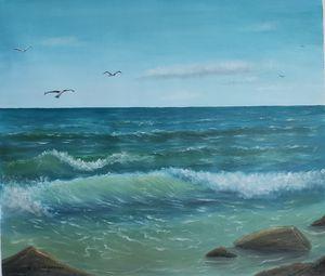 Oil painting Sea waves
