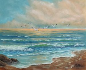 oil painting Seagulls over the sea