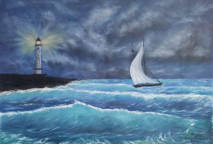 oil painting The Way of the Sailors - Valentine Kostadinova
