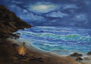 oil painting On a lonely island