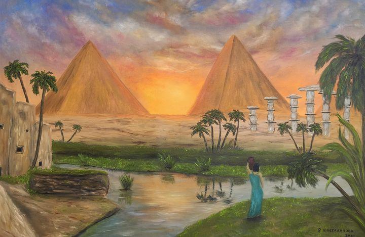 oil painting Egyptian pyramids - Valentine Kostadinova