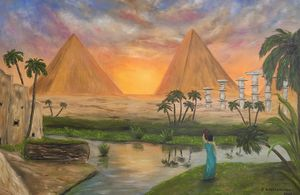 oil painting Egyptian pyramids