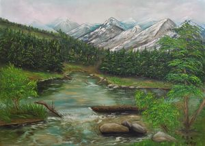 walk in the mountains oil painting