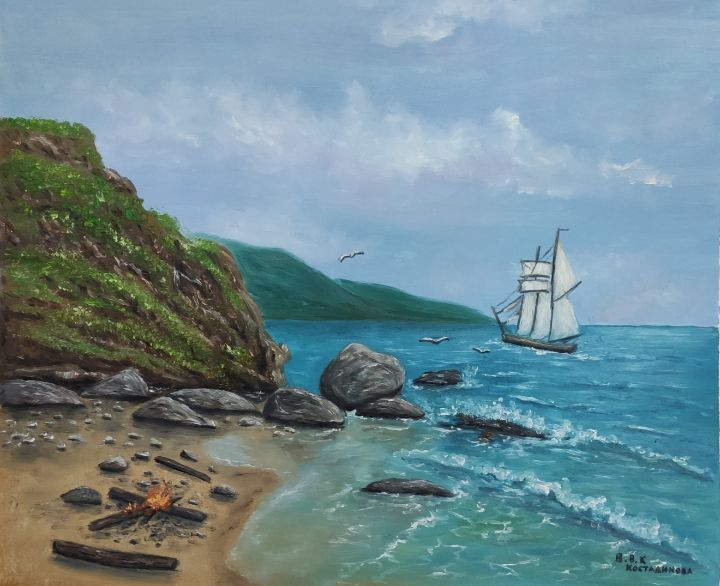 sea fairy oil painting - Valentine Kostadinova
