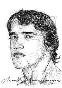 Scribble Art Arnold Schwarzenegger