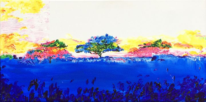Three Tree Landscape - Square Moon Art