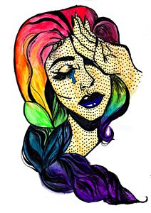 Crying Girl With Rainbow Hair