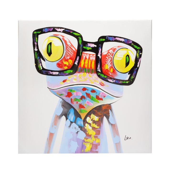 Frog with glasses hand painted oil - Fun Animal Art