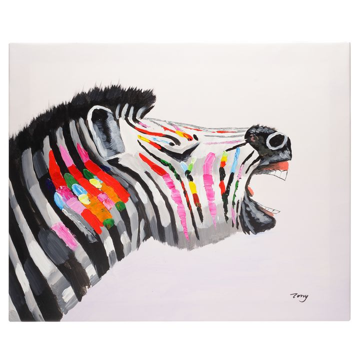 Colourful Zebra hand painted oil - Fun Animal Art