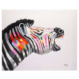 Colourful Zebra hand painted oil