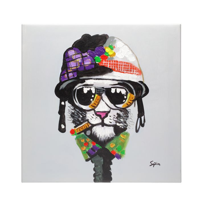 Cool cat hand painted oil canvas - Fun Animal Art