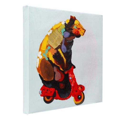 Bear on a vespa hand painted oil - Fun Animal Art