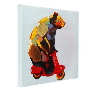 Bear on a vespa hand painted oil