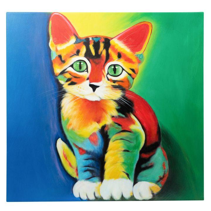 Colourful Kitten Original oil canvas - Fun Animal Art