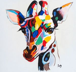 Colourful giraffe hand painted oil - Fun Animal Art