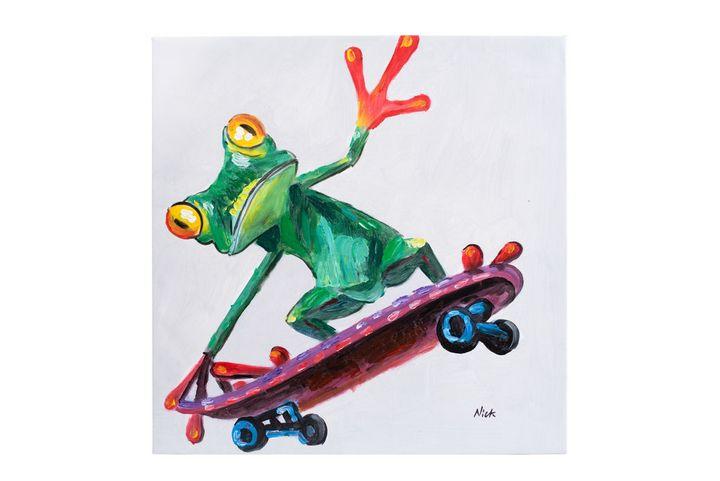 Frog on skateboard oil on canvas - Fun Animal Art