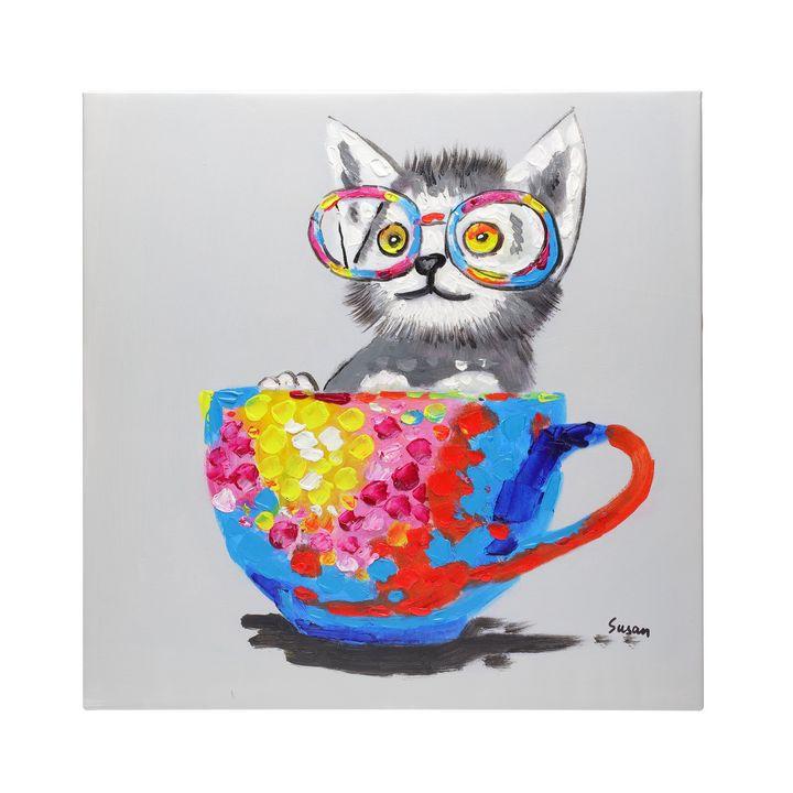 Cute cat in a tea cup oil canvas - Fun Animal Art