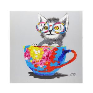 Cute cat in a tea cup oil canvas