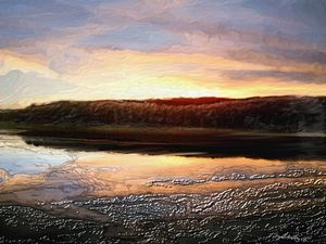 Winter sunset over reservoir - Tony Walling Creative Arts