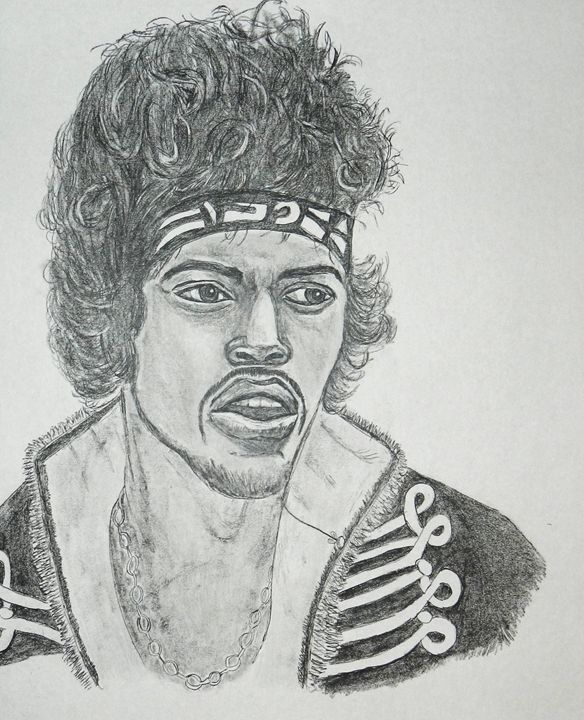 Jimi Hendrix pencil sketch 11x14 - SketchEddie