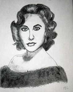 Pencil sketch of Elizabeth Taylor