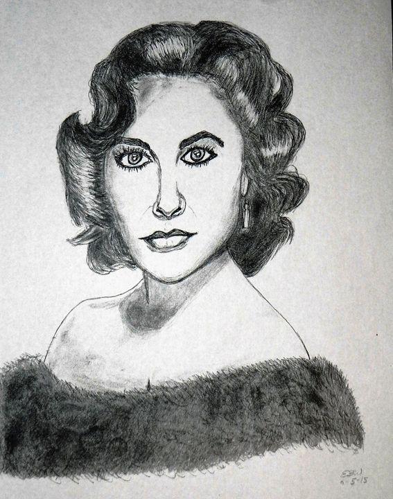 Pencil sketch of Elizabeth Taylor - SketchEddie