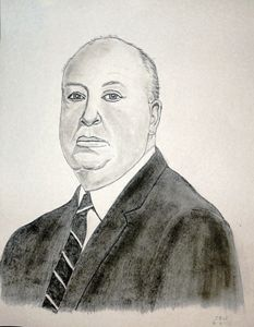 Alfred Hitchcock pencil sketch