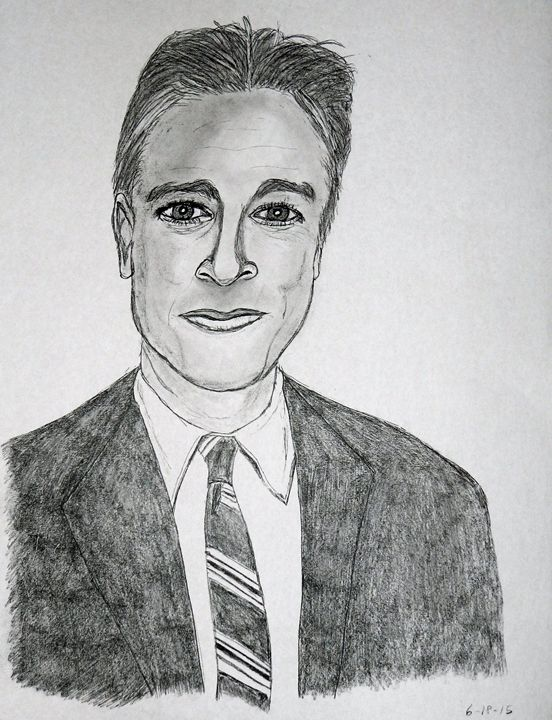 Jon Stewart pencil sketch - SketchEddie