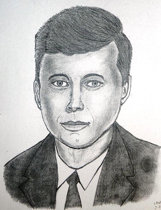 John F. Kennedy pencil sketch - SketchEddie