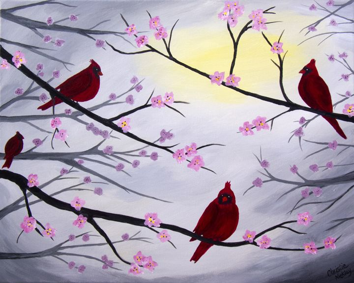 Cardinal Blossoms - Christie Nicklay Art